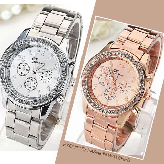 ビジューフレームがオシャレなメタル腕時計