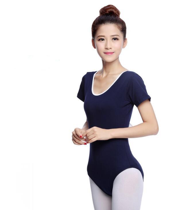 バレエ用 半袖レオタード ヨガ体操ダンス スカート ブルー