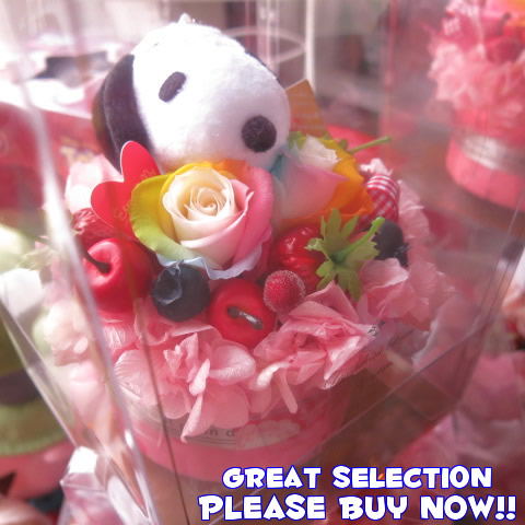 【スヌーピー入り ケーキ風】 結婚記念日 結婚祝い 花 レインボーローズ プリザーブドフラワー ケース付き 1周年 1か月 お付き合い記念日