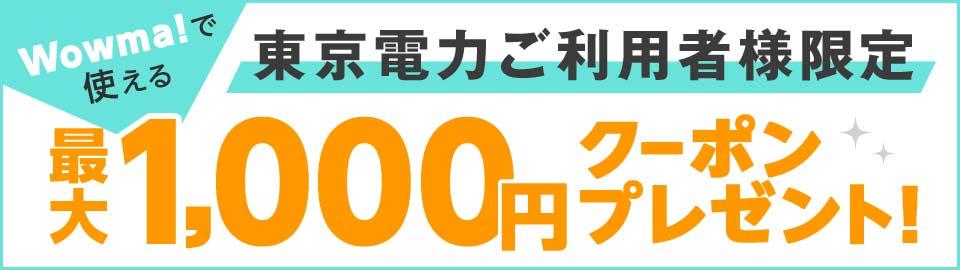 東京電力ご利用者様限定!最大1,000円OFFクーポンプレゼント!
