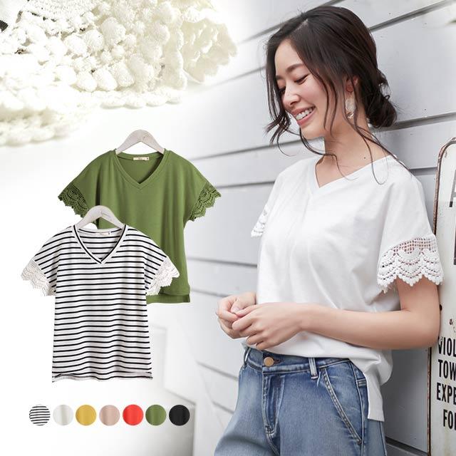 スカラップデザインレースTシャツ