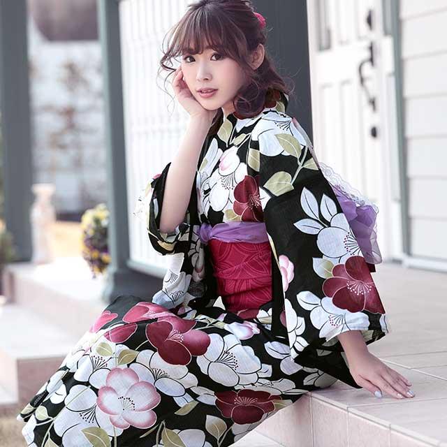 和モダン椿 浴衣3点セット黒地×白×赤