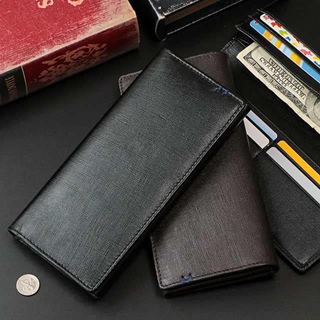 【本革】スタイリッシュな薄マチ長財布