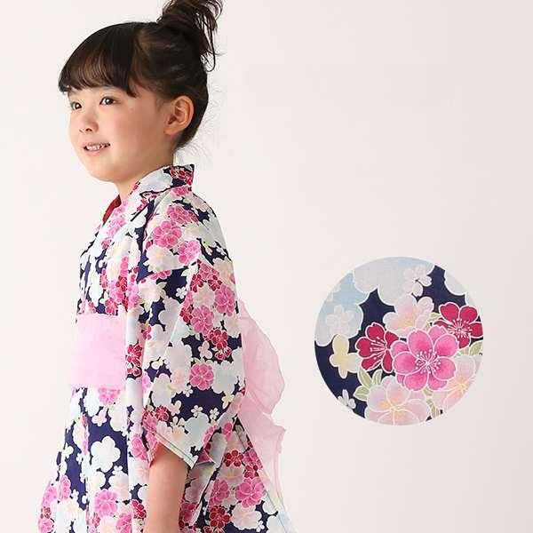 女児浴衣2点セット(小花柄・ネイビー)