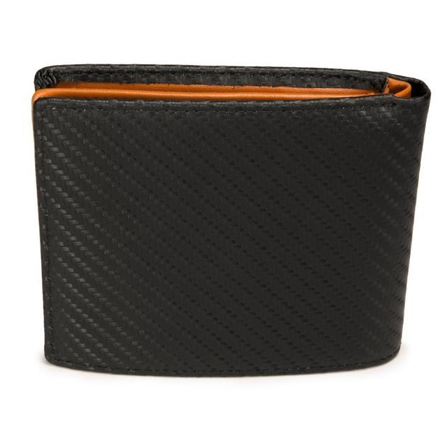 二つ折財布 隠しポケット付 カーボンレザー
